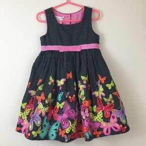 Bonnie Jean Black & Pink Butterfly Party Dress 3T